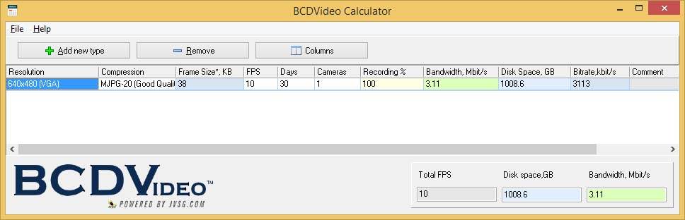 Bandwidth and Storage Calculator